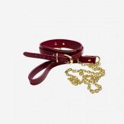 룸펀 레더 초커+목줄 레드 Roomfun Leather Collar With Leash | ROOMFUN